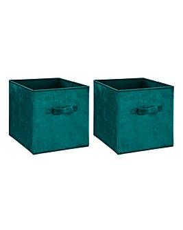 Set of 2 Velvet Cube Storage Basket