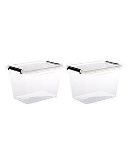 Set of 2 19L Storage Box with Lid