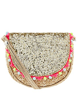 Accessorize Glitter Pom Faux Straw  Bag