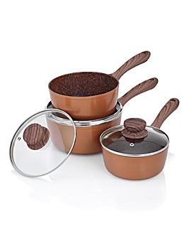 JML Copper Stone Saucepan Set