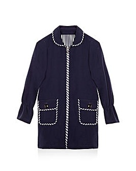 Yumi Girl Stripe Trim Pea Coat