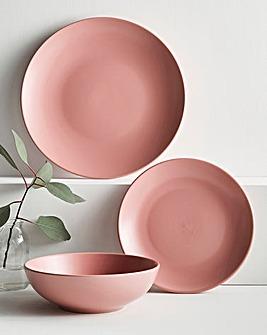 Buxton 12 Piece Blush Pink Stoneware Dinnerset