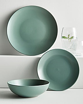 Buxton 12 Piece Sage Stoneware Dinnerset