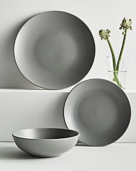 Buxton 12 Piece Grey Stoneware Dinnerset