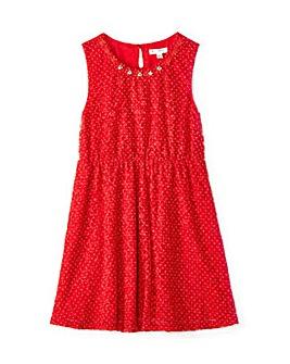 Yumi Girl Lace Spotted Dress