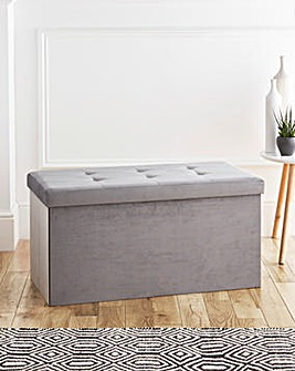 Velvet Foldable Storage Ottoman Grey