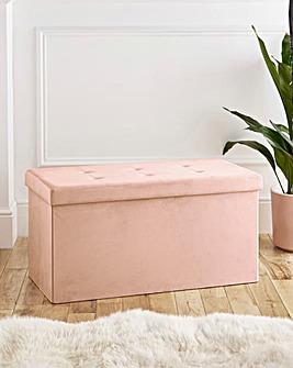 Velvet Foldable Storage Ottoman Pink