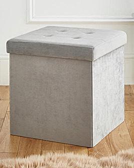 Velvet Foldable Storage Cube Grey