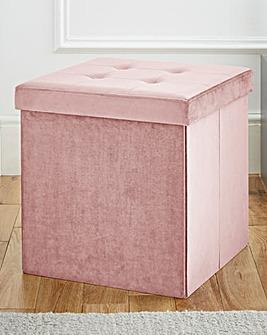 Velvet Foldable Storage Cube Pink