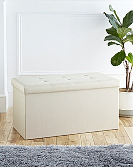 Fabric Foldable Storage Ottoman Cream