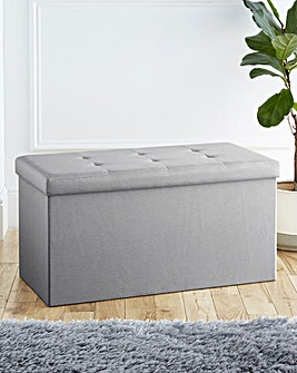 Fabric Foldable Storage Ottoman Grey