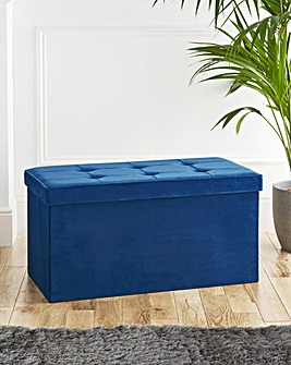 Velvet Foldable Storage Ottoman Navy