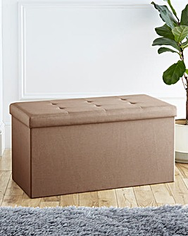 Fabric Foldable Storage Ottoman Natural