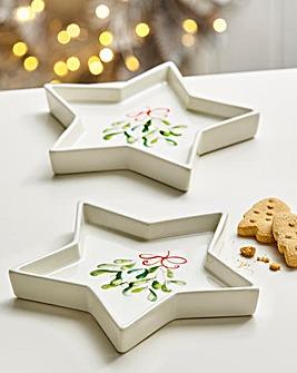Mistletoe Kiss Set of 2 Star Platters