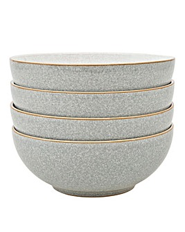 Denby Elements 4 Cereal Bowls Grey