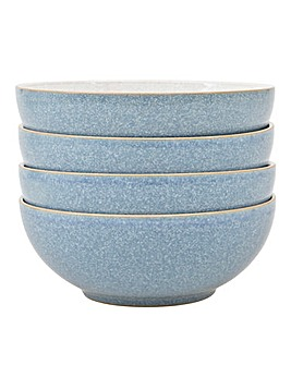 Denby Elements 4 Cereal Bowls Blue