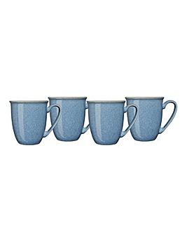 Denby Elements Set of 4 Mugs Blue