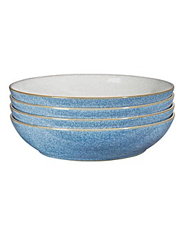 Denby Elements 4 Pasta Bowls Blue