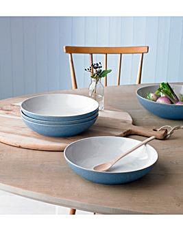 Denby Elements 4 Pasta Bowls Blue