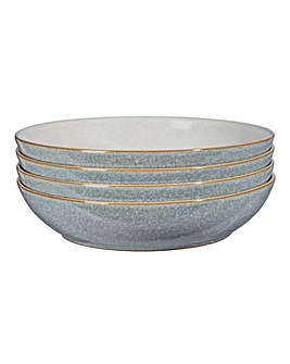 Denby Elements 4 Pasta Bowls Grey