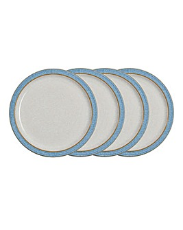 Denby Elements 4 Medium Plates Blue