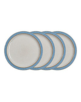 Denby Elements 4 Dinner Plates Blue