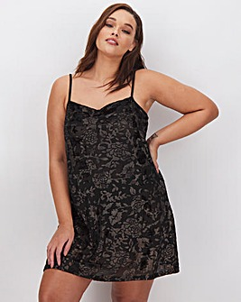 Figleaves Curve Black & Rose Gold Devore Chemise