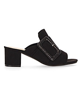 Flexi Sole Statement Buckle Mule Sandals Wide E Fit