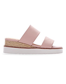 Twin Strap Wedge Mule Sandals Extra Wide EEE Fit