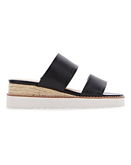 Twin Strap Wedge Mule Sandals E Fit