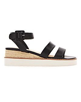 Twin Strap Wedge Sandals Wide E Fit