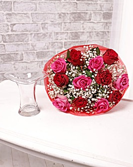 12 Red and Pink Roses with Free Vase
