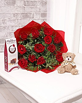 12 Roses with Teddy and Chocolates