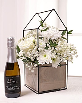 White Floral Terrarium with Prosecco