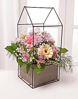 Large Pink Floral Terrarium