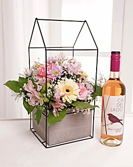 Large Pink Terrarium with Rose Wine