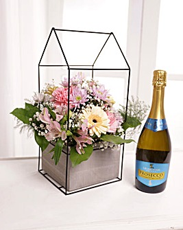 Large Pink Terrarium with Prosecco