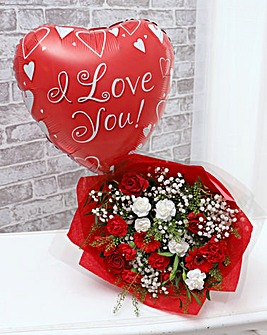 I Love You Balloon and Bouquet