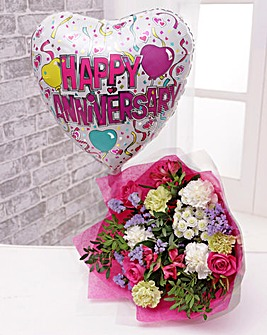 Anniversary Balloon and Bouquet