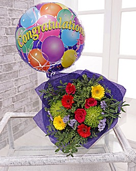 Congratulations Balloon and Bouquet