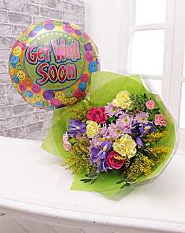 Get Well Soon Balloon and Bouquet