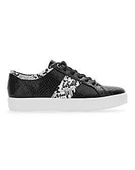 Lace Up Casual Shoes With Snake Print Extra Wide EEE Fit