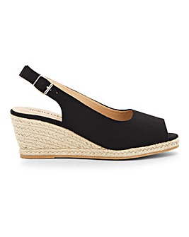 Peep Toe Espadrille Wedge Sandals E Fit