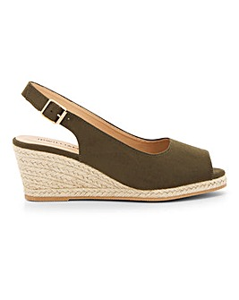 Peep Toe Espadrille Wedge Sandal EEE Fit