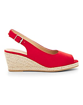 Peep Toe Espadrille Wedge Sandals Extra Wide EEE Fit