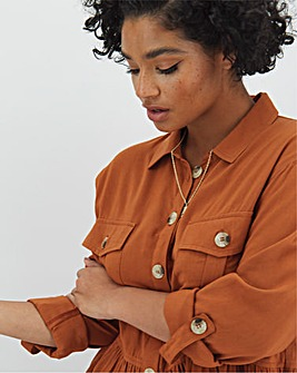 Terracotta Utility Pocket Front Longline Shirt