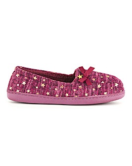 Bow Detail Star Print Slippers Wide E Fit