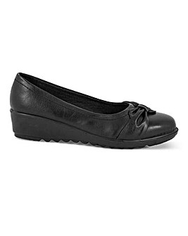 Cushion Walk Bow Detail Slip On Low Wedge Shoes Wide E Fit