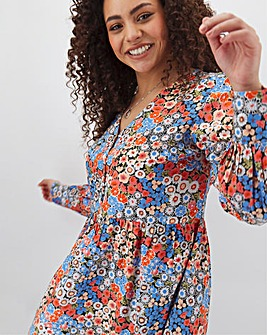 Floral Print V-Neck Tunic