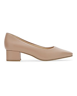 Flexi Sole Block Heel Leather Court Shoes Extra Wide EEE Fit
